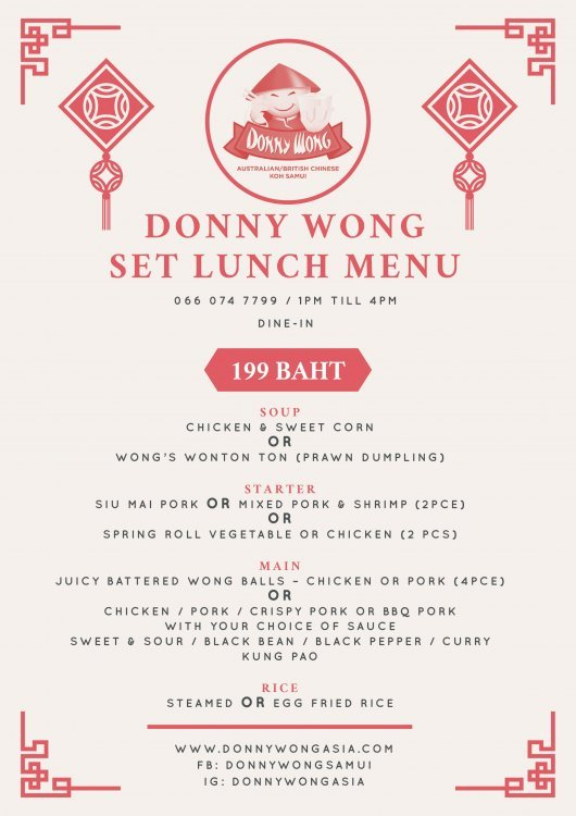 Donny Wong Set Lunch Menu