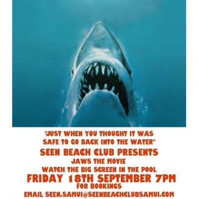 Pool Cinema night showing JAWS