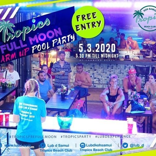 Tropics Full Moon Warm-up Pool Party (March 2020)