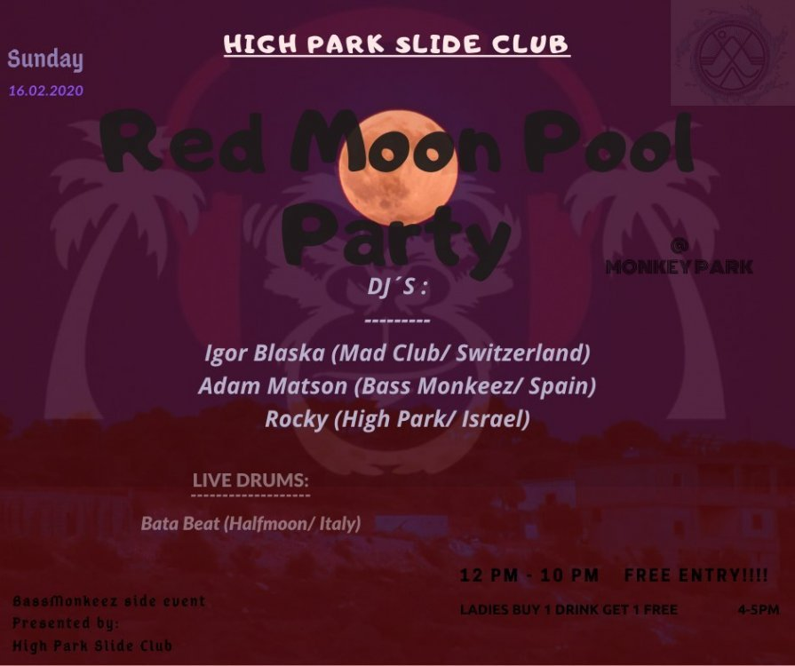 Red moon pool party
