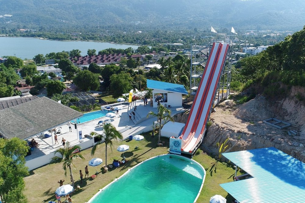 Ride from a steep water slide