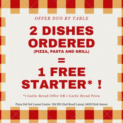 2 Dishes Ordered = 1 Free Starter