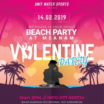 Valentine Party - My house is your house beach party at maenam