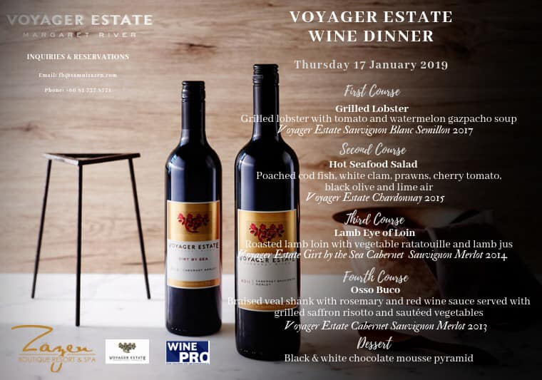 Voyager Estate Wine Dinner at Zazen Restaurant