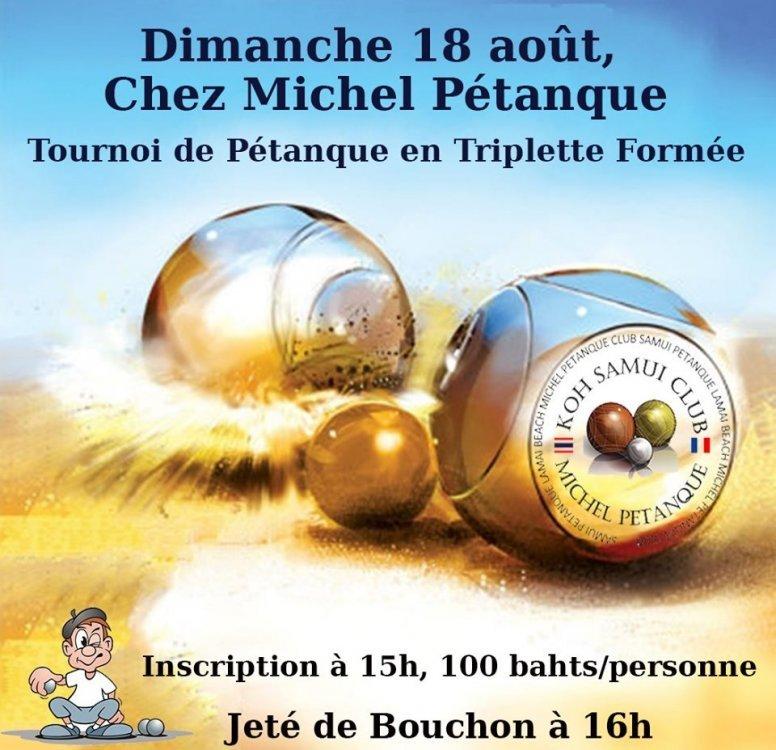 Dimanche 18 août, Tournoi de Pétanque en Triplette Formée