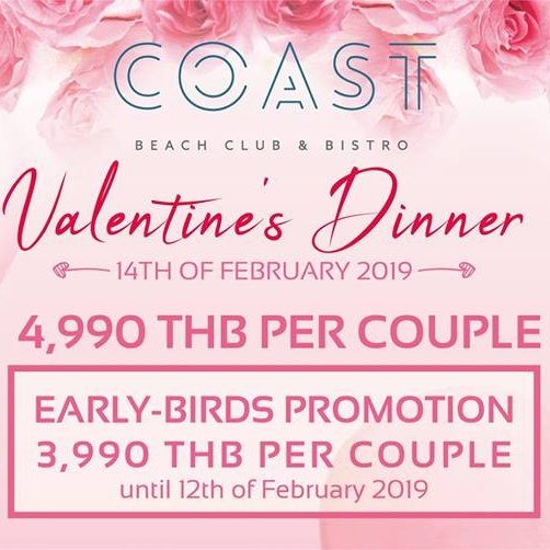 Valentine's Romantic Dinner at Coast Beach Club & Bistro !