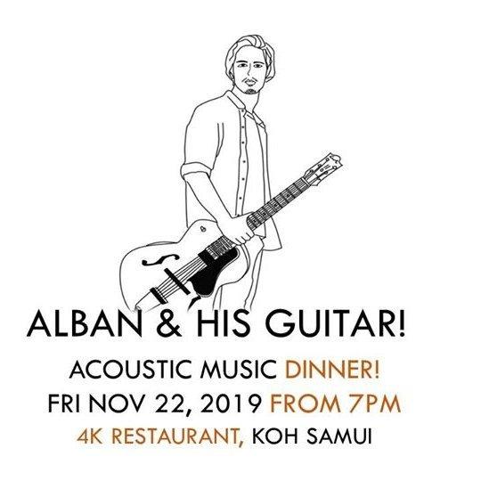 "X2 Koh Samui - ""Alban & his guitar"" live at dinner 4K restaurant"