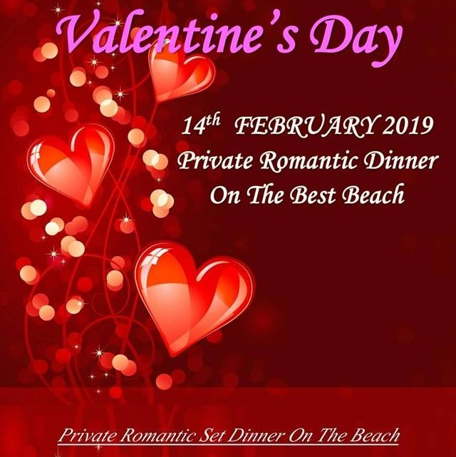 Romantic Valentine Dinner 14th February On The Best Beach.